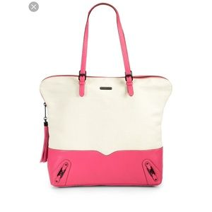Rebecca Minkoff Saying Canvas Leather Tote Pink